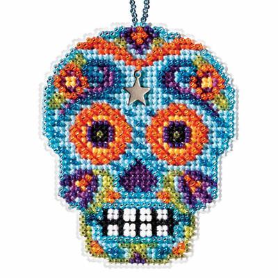 Azul Beaded Cross Stitch Halloween Kit Mill Hill 2016 Calavera MH161625