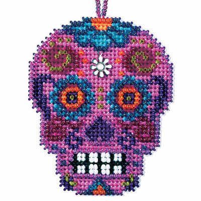 Rosa Beaded Cross Stitch Halloween Kit Mill Hill 2016 Calavera MH161626