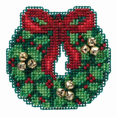 Jingle Bell Wreath Cross Stitch Kit Mill Hill 2016 Winter Holiday MH181632