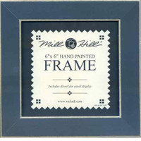 Matte Blue Solid Color Gold Trim Mill Hill 6 x 6 Wooden Frame GBFRM2