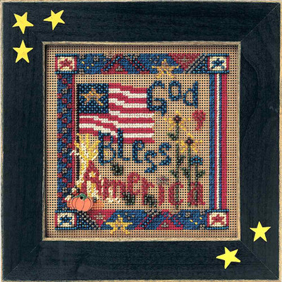 God Bless America Cross Stitch Kit Mill Hill 2002 Buttons & Beads Autumn MHCB185