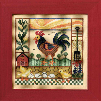 Barnyard Morning Cross Stitch Kit Mill Hill 2008 Buttons & Beads Spring MH148106