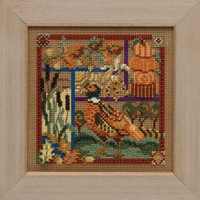Pheasant Sampler Cross Stitch Kit Mill Hill 2009 Buttons & Beads Autumn MH149203