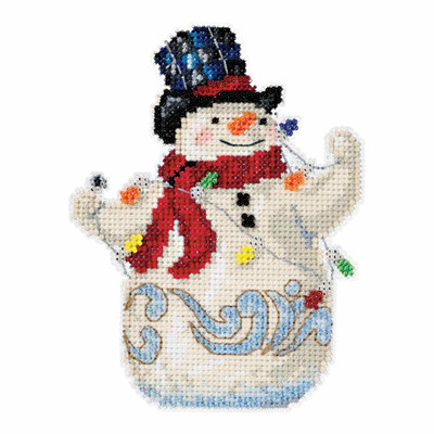 Snowman with Lights Counted Cross Stitch Kit Mill Hill 2016 Jim Shore JS201611