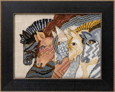Moroccan Mares Cross Stitch Kit (Linen) Mill Hill 2017 Laurel Burch Horses LB301712