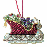 Evergreen Sleigh Cross Stitch Kit Mill Hill 2017 Sleigh Ride MH161734