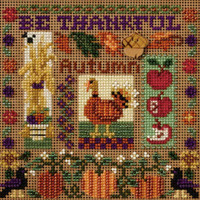 Stitched area of Be Thankful Cross Stitch Kit Mill Hill 2007 Buttons & Beads Autumn