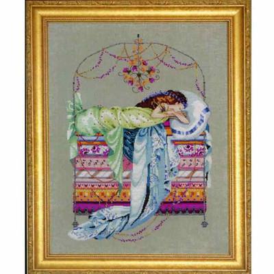 Sleeping Princess Kit Cross Stitch Chart Fabric Beads Braid Nora Corbett Mirabilia Designs MD123