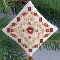 Engraved Heart Tiny Treasured Diamond Ornament Kit Mill Hill 1996