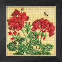 Geranium Cross Stitch Kit Mill Hill 2018 Buttons & Beads Spring MH141816