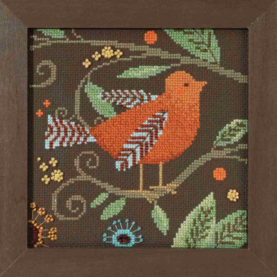 Orange Bird Cross Stitch Kit Mill Hill 2018 Debbie Mumm Out On A Limb DM301813