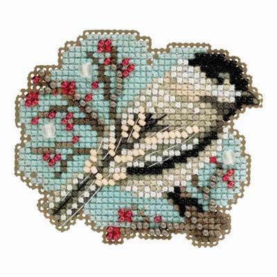 Little Chickadee Cross Stitch Ornament Kit Mill Hill 2018 Winter Holiday MH181831
