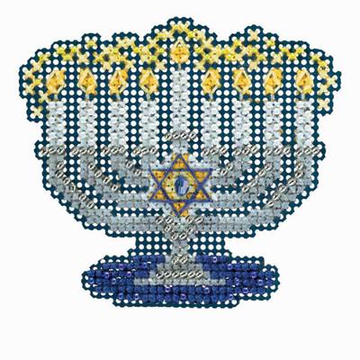 Menorah Cross Stitch Ornament Kit Mill Hill 2018 Winter Holiday MH181833