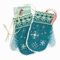 Snowflake Mittens Beaded Cross Stitch Ornament Kit Mill Hill 2018 Mittens Trilogy MH191832