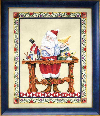 Santa's Workshop Kit Cross Stitch Chart Fabric Beads Jim Shore JSP0001E