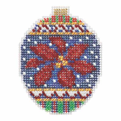 Christmas Poinsettia Beaded Cross Stitch Ornament Kit Mill Hill 2018 Beaded Holiday MH211814