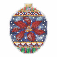 Christmas Poinsettia Beaded Cross Stitch Ornament Kit Mill Hill 2018 Beaded Holiday MH211814
