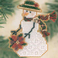Poinsettia Snow Charmer Beaded Christmas Ornament Kit Mill Hill 2001