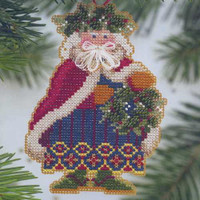 Holly & Ivy Santa Bead Cross Stitch Kit Mill Hill 2001 Woodland Santas