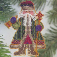 Bell Ringer Santa Beaded Ornament Kit Mill Hill 2001 Woodland Santas