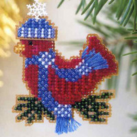 Snowcapped Red Bird Beaded Ornament Kit Mill Hill 2002 Winter Holiday