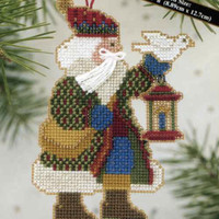 Dove Santa Bead Cross Stitch Ornament Kit Mill Hill 2003 Alpine Santas