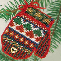 Sampler Beaded Cross Stitch Kit Mill Hill 2004 Mitten Ornaments