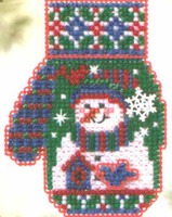 Snowman's Garden Bead Cross Stitch Kit Mill Hill 2005 Mitten Ornaments