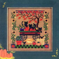 Scaredy Cats Beaded Cross Stitch Kit Mill Hill 2005 Buttons & Beads