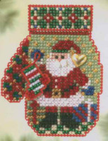 Santa's Night Beaded Cross Stitch Kit Mill Hill 2005 Mitten Ornaments