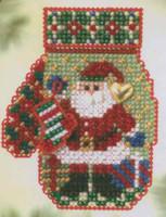 Santa's Night Beaded Cross Stitch Kit Mill Hill 2005 Mitten Ornaments