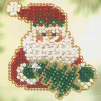 Santa Fir Beaded Christmas Ornament Kit Mill Hill 2005 Winter Holiday