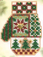 Patchwork Holiday Cross Stitch Kit Mill Hill 2005 Mitten Ornaments