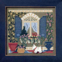 Window Friends Cross Stitch Kit Mill Hill 2006 Buttons & Beads Spring