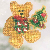 Teddy's Tree Beaded Cross Stitch Kit Mill Hill 2006 Winter Holiday