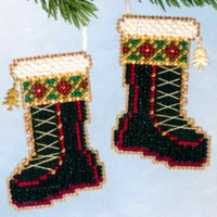 Santa's Boots Beaded Ornament Kit Mill Hill 2006 Santa's Closet