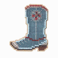 Western Boot Beaded Cross Stitch Kit Mill Hill 2007 Spring Bouquet
