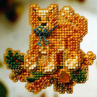 Tabby Cat Bead Cross Stitch Ornament Kit Mill Hill 2008 Autumn Harvest