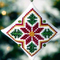 Poinsettia Tiny Treasured Diamond Beaded Ornament Kit Mill Hill 2008