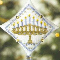 Menorah Tiny Treasured Diamond Bead Ornament Kit Mill Hill 2008