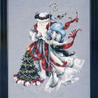 Winter White Santa Cross Stitch Chart Fabric Beads Silk Floss Braid Nora Corbett Mirabilia MD100