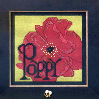 Poppy Beaded Cross Stitch Kit Mill Hill 2009 Buttons & Beads Spring
