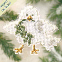 Downy Dove Beaded Christmas Ornament Kit Mill Hill 2009 Winter Holiday
