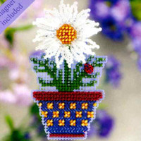 White Daisy Beaded Cross Stitch Kit Mill Hill 2011 Spring Bouquet