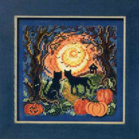 Moonlit Kitties Cross Stitch Kit Mill Hill 2011 Buttons & Beads Autumn
