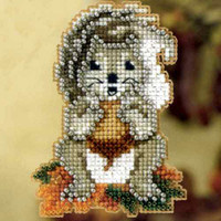 Squirrelly Beaded Cross Stitch Kit Mill Hill 2012 Autumn Harvest
