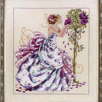 Roses of Provence Kit (Cross Stitch Chart, Fabric, Beads, Braid) Mirabilia MD124