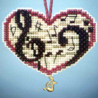 Love Notes Beaded Charmed Ornaments Kit Mill Hill 2013 I Love