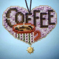 Love Coffee Beaded Charmed Ornaments Kit Mill Hill 2013 I Love