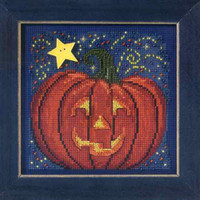 Midnight Pumpkin Cross Stitch Kit Mill Hill 2013 Buttons Beads Autumn